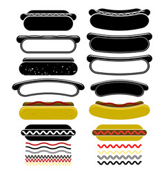 set of different hot dogs vector image