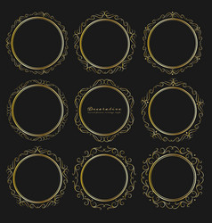 set of golden decorative round frames vintage vector image