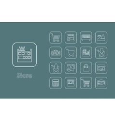 Set of store simple icons vector
