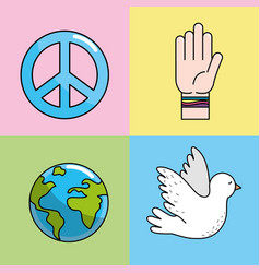 Set peace hand symbol to global harmony vector