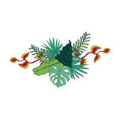 Simple tropical flowery composite design vector