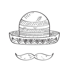 sketch of a traditional mexican hat vector image
