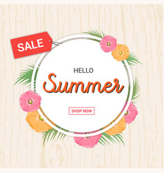 Summer flowers frame or summer floral design vector