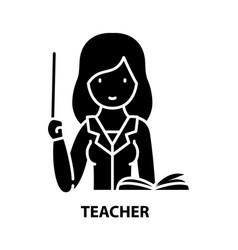 Teacher symbol icon black sign with vector
