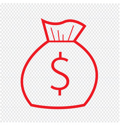 thin line money bag icon design vector image