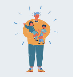 tired father carrying vector image