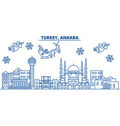 Turkey ankara winter city skyline merry vector