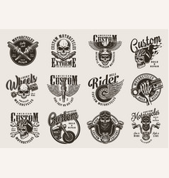 vintage custom motorcycle badges vector image