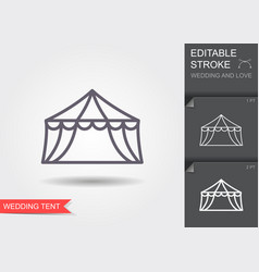 Wedding tent line icon with shadow and editable vector