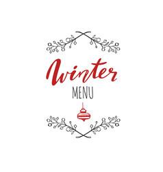 Winter menu handwritten calligraphy emlem logo vector