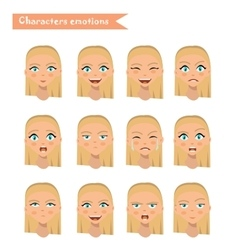 Woman emotion face set vector