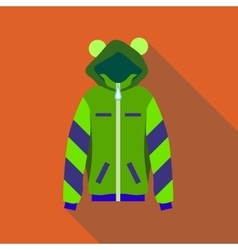 Woman green hoodie icon flat style vector