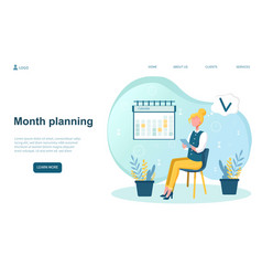 Woman is planning her month vector