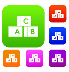 alphabet cubes with letters abc set collection vector image
