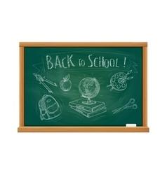 Back to school welcome chalk blackboard vector image