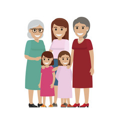 four generations of women standing together vector image vector image