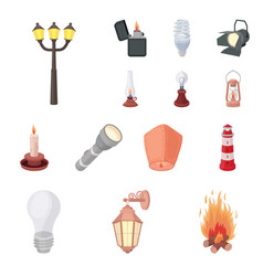 light source cartoon icons in set collection for vector image vector image