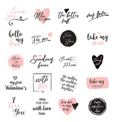 set of black white and pink love lettering for vector image vector image