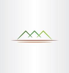 simple stylized green mountain icon design symbol vector image vector image