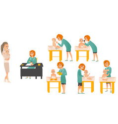 cartoon pediatrician doctors and baby set vector image