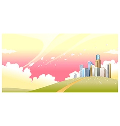 Green landscape and skyline vector image vector image