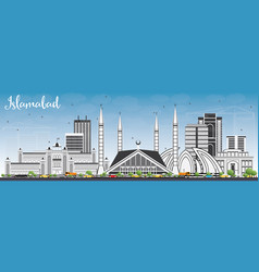 islamabad skyline with gray buildings and blue sky vector image vector image
