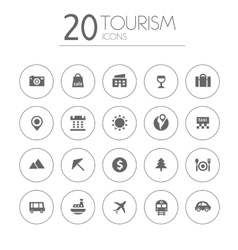 Simple thin tourism icons collection on white vector image vector image