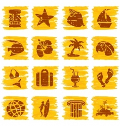 square grungy tropical buttons vector image vector image
