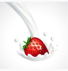 strawberry and milk splash vector image