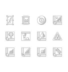 Billiards flat line icons set vector
