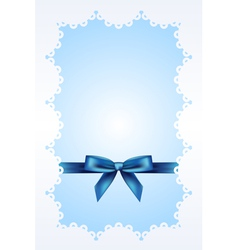 Blue background with lace and ribbon vector image vector image