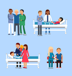 care of patients in hospital medical therapy vector image vector image