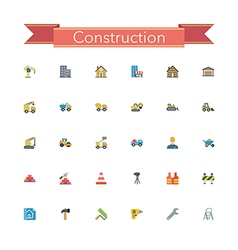 Construction Flat Icons vector image vector image