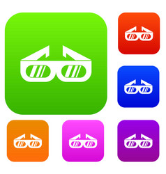 glasses for 3d movie set collection vector image