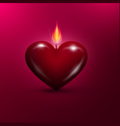 heart shaped lit candle valentines day background vector image vector image