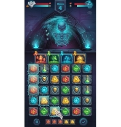 Monster battle GUI with spooky skeleton vector image