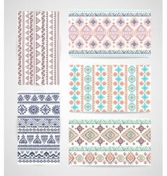 Set of business cards with tribal ornaments vector image vector image