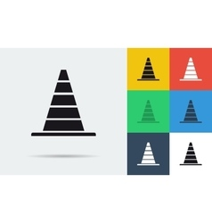 seven flat icons of parking cones vector image vector image