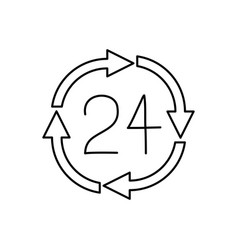 black silhouette of 24 hours arrow circle icon vector image