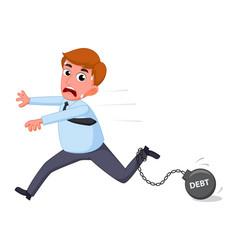 Businessman cartoon carry debt financial vector