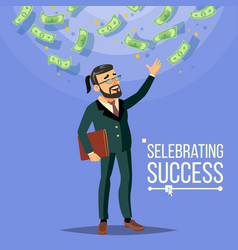 happy businessman falling money cash rain vector image