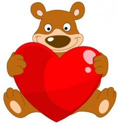 smiley bear valentine vector image vector image