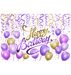 violet gold balloons happy birthday background vector image