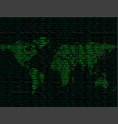 world map of binary digits vector image vector image