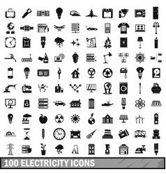 100 electricity icons set simple style vector