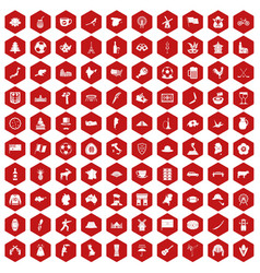 100 map icons hexagon red vector image