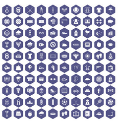 100 tennis icons hexagon purple vector