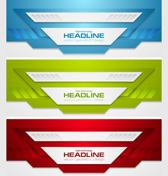 Abstract bright tech corporate banners collection vector