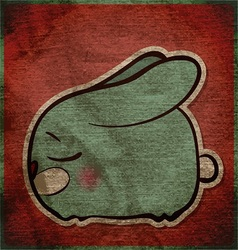 Animal grunge card with funny cartoon rabbit vector image