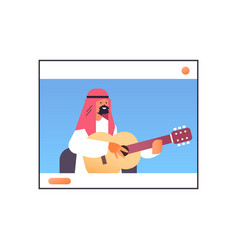 Arab man playing guitar in web browser window vector
